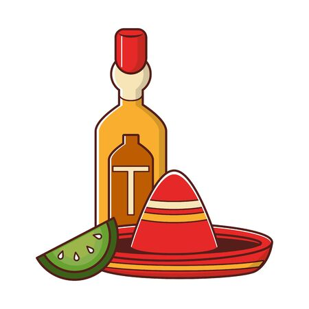mexico culture and foods cartoons tequila bottle and lemon cut on the side mariachi hat vector illustration graphic design