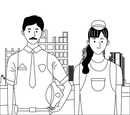 labor day employment occupation national celebration,police man with builder woman workers in front city construction view cartoon vector illustration graphic design