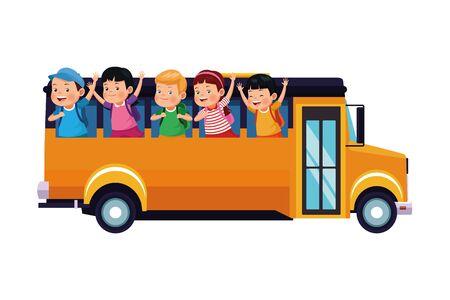 School kids greeting from bus sideview ,vector illustration .graphic design. Ilustração