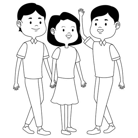 Teenagers friends with casual clothes smiling and greeting cartoons ,vector illustration graphic design. Banque d'images - 129353483