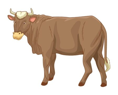 Cow animal sideview cartoon isolated vector illustration graphic design