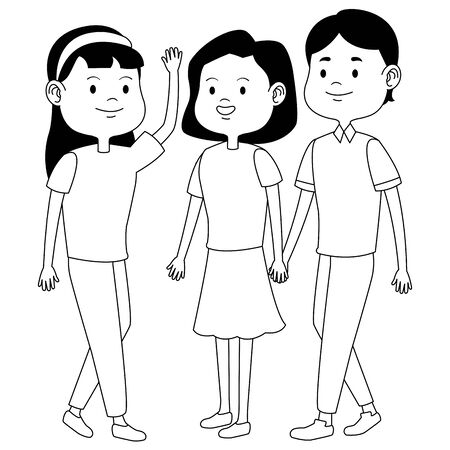 Teenagers friends with casual clothes smiling and greeting cartoons ,vector illustration graphic design. Banque d'images - 129353494