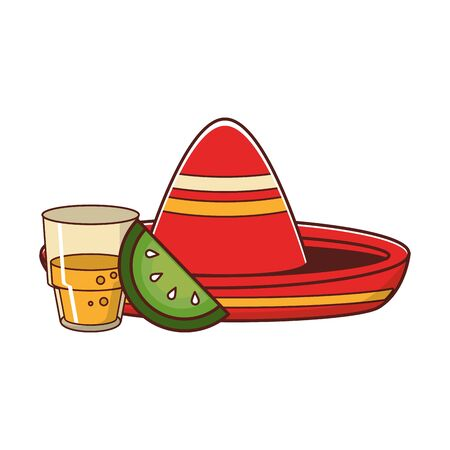 mexico culture and foods cartoons tequila bottle and glass and cut lemon mariachi hat vector illustration graphic design  イラスト・ベクター素材