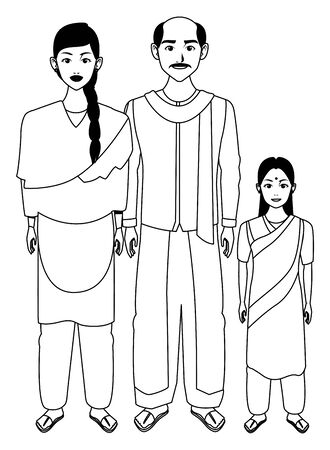 indian asian religion oriental culture, traditional family, father and mother with daughter cartoon vector illustration graphic design