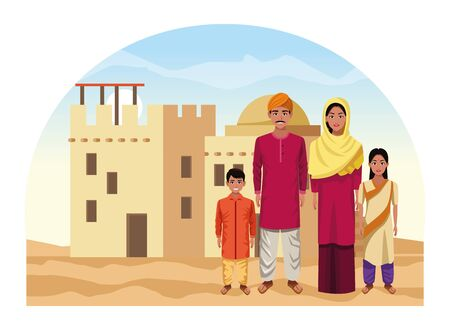 indian asian religion oriental culture, traditional family parents, mother and father with children cartoon vector illustration graphic design