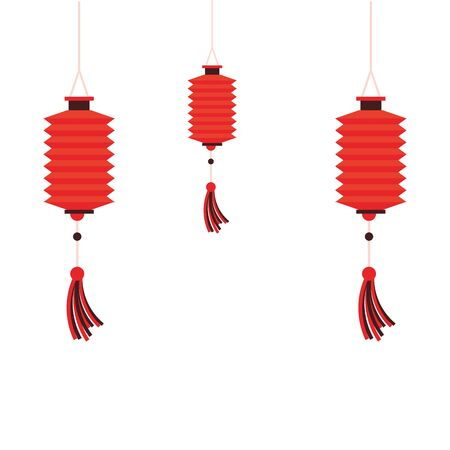 oriental chinese lanterns lamps red lights decoration cartoon vector illustration graphic design