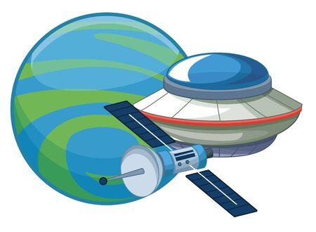space exploration satellite, flying saucer and planet icon cartoon vector illustration graphic design Ilustração