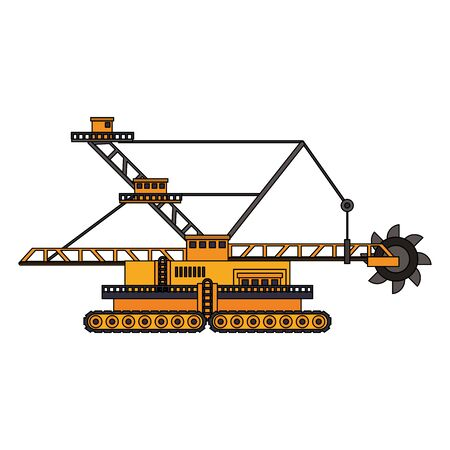 Construction excavator vehicle machinery isolated sideview vector illustration graphic design Illustration