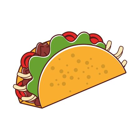 mexico culture and foods cartoons taco vector illustration graphic design  イラスト・ベクター素材