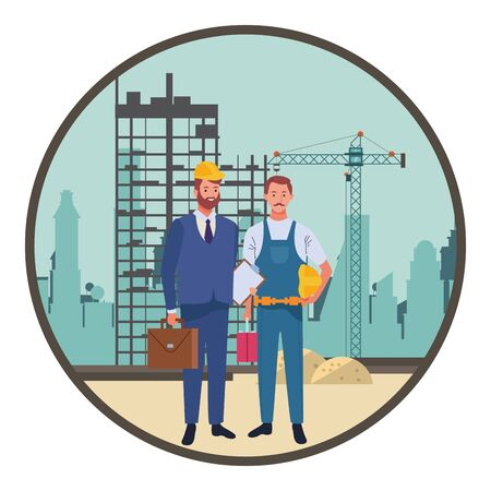 Professionals workers engineer and pumbler with briefcase with toolbox smiling cartoons in construction zone round icon ,vector illustration graphic design.