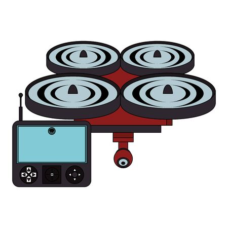 air drone remote control technology device cartoon vector illustration graphic design Иллюстрация