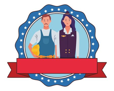 labor day employment occupation national celebration,builder man with stewardess, round icon with ribbon cartoon vector illustration graphic design
