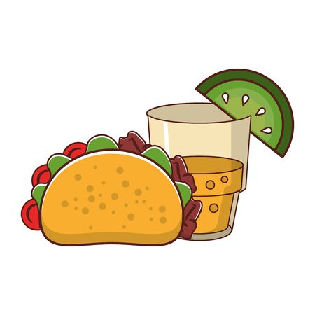 mexico culture and foods cartoons glass lemon cut on the edge and taco vector illustration graphic design  イラスト・ベクター素材