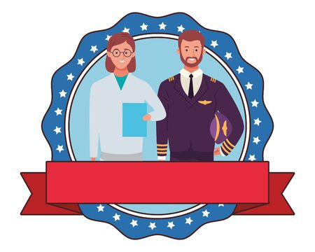labor day employment occupation national celebration, doctor woman with pilot round icon with ribbon cartoon vector illustration graphic design Иллюстрация