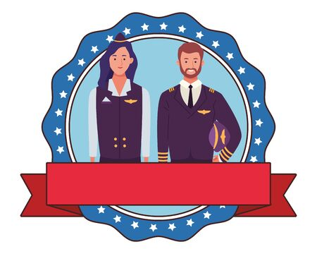 labor day employment occupation national celebration, pilot with stewardess, round icon with ribbon cartoon vector illustration graphic design