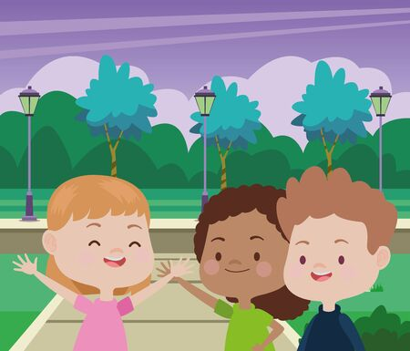 Happy kids smiling and playing with friends cartoon in the park over cityscape urban scenery ,vector illustration graphic design.