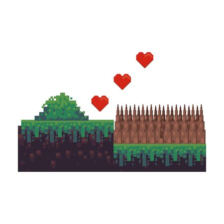 videogame pixelated retro art digital entertainment, hearts with wooden fence cartoon vector illustration graphic design Ilustracja