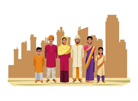 indian asian religion oriental culture, traditional family parents, mothers and fathers with children cartoon vector illustration graphic design Çizim
