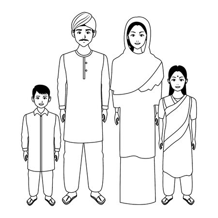 indian asian religion oriental culture, traditional family parents, mother and father with children cartoon vector illustration graphic design Stok Fotoğraf - 129262268