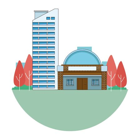 Edifici urbani e architettura della città, classici moderni e oggetti d'antiquariato immobili in progettazione grafica di illustrazione vettoriale in bianco e nero.