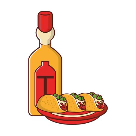 mexico culture and foods cartoons tequila bottle and plate tacos vector illustration graphic design