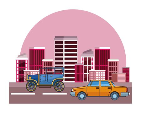 Vintage and classic cars antique vehicles riding in the city urban background vector illustration graphic design.  イラスト・ベクター素材