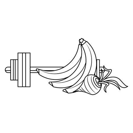 fitness sport heatlhy lifestyle, gym and healthy diet objects cartoon vector illustration graphic design