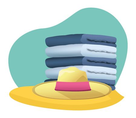 Summer hat and and towels piled up in the beach scenery background ,vector illustration graphic design.