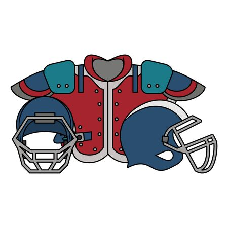 american football sport game, helmets with shouldedr pads cartoon vector illustration graphic design