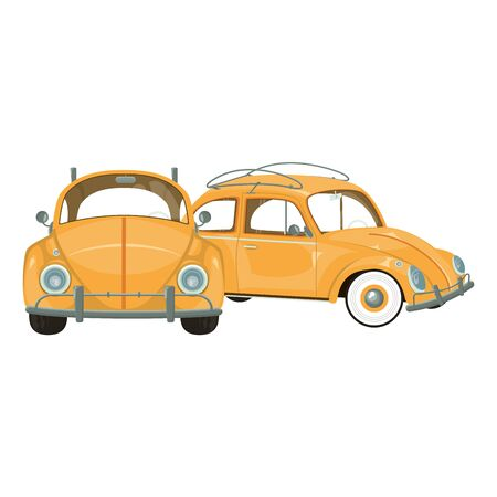 vintage retro classic cars cartoon vector illustration graphic design