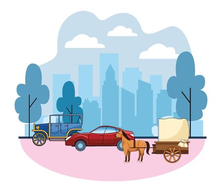 Classic cars and antique horse carriage, vintage and retro vehicles riding in the city urban background vector illustration graphic design. Banque d'images - 129464216