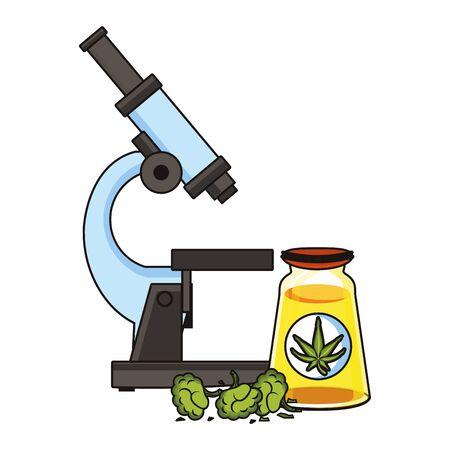 cannabis marijuana medical marijuana medicine sativa hemp buds and oil bottle cartoon vector illustration graphic design Çizim