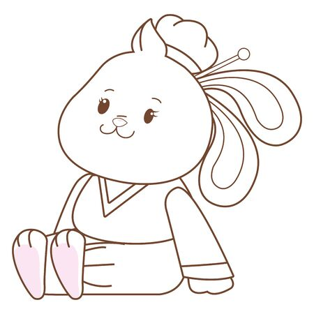 Mid autumn cute female rabbit seated with chinese clothes cartoon ,vector illustration graphic design.
