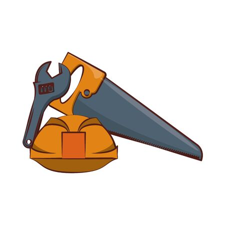engineering construction factory industry, heavy work tools equipment isolated cartoon vector illustration graphic design
