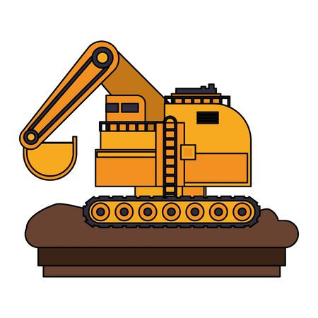Construction backhoe vehicle machinery isolated sideview on ground vector illustration graphic design