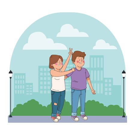 teenager friends smiling and greeting boy and girl in the city, urban scenery background vector illustration graphic design.