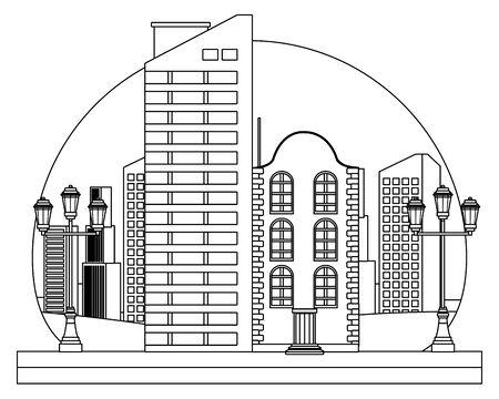 Stedelijke gebouwen en stadsarchitectuur, moderne klassiekers en antiek onroerend goed gebouwen in zwart-wit vector illustratie grafisch ontwerp.