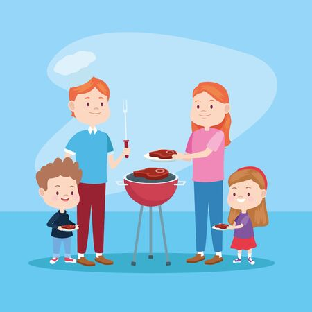 Family father and mother having fun with childrens bbq day on blue background vector illustration graphic. Çizim