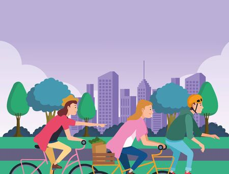 Young people riding on bicycles and skateboard with accesories in the city ,vector illustration graphic design.