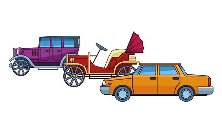 Vintage and classic cars antique vehicles vector illustration graphic design. Archivio Fotografico - 129473626
