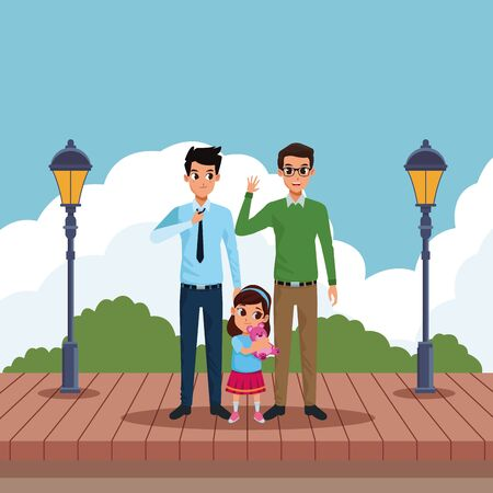 Family two fathers with little daughter smiling in the park scenery wooden floor and streetlights ,vector illustration graphic design.