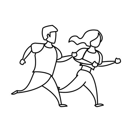 fitness sport heatlhy lifestyle, couple doing workout exercise routine cartoon vector illustration graphic design 向量圖像