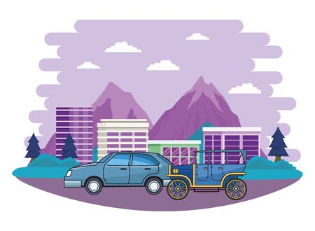 Vintage and classic cars modern vehicles riding in the city urban background vector illustration graphic design.  イラスト・ベクター素材
