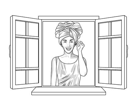 Pop art beautiful afroamerican woman cartoon looking from the window ,vector illustration graphic design.