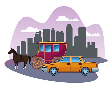 cars and antique horse carriage, vintage and retro vehicles riding in the city urban background vector illustration graphic design.