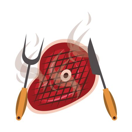 Barbecue food steak with fork and knife vector illustration graphic design