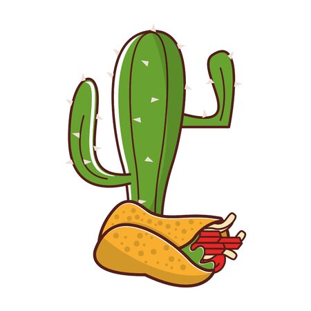 mexico culture and foods cartoons cactus and burrito vector illustration graphic design  イラスト・ベクター素材