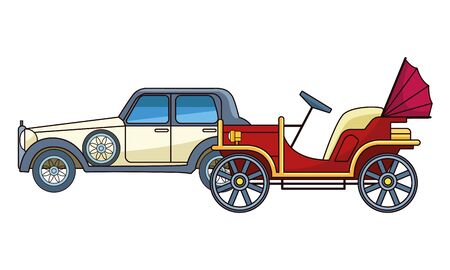 Vintage and classic cars antique vehicles vector illustration graphic design. Archivio Fotografico - 129473753