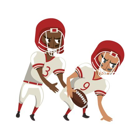 american football sport game competition, players partners playing in offense position cartoon vector illustration graphic design