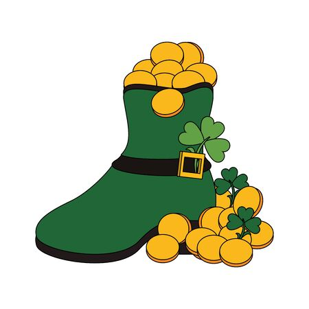 saint patricks day irish tradition green leprechaun boot with golden coins and clovers cartoon vector illustration graphic design  イラスト・ベクター素材